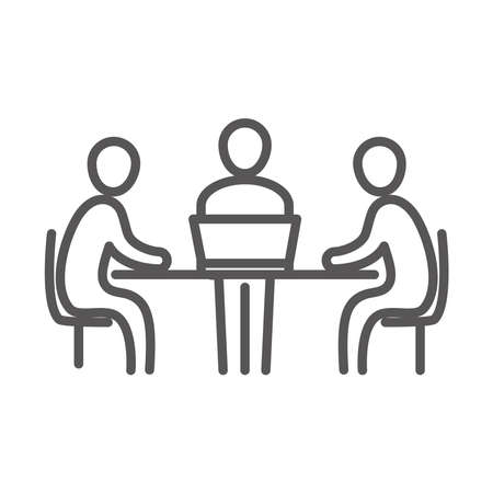 meeting people at the desk with laptop, coworking office business workspace, line icon design vector illustration