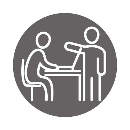 colleagues in company, laptop in the desk, coworking office business workspace, block and line icon vector illustration Çizim