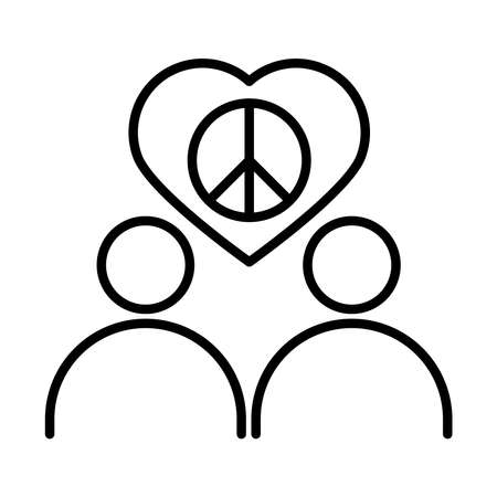 people peace love heart together, human rights day, line icon design vector illustration