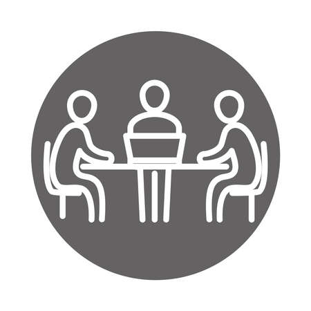 meeting people at the desk with laptop, coworking office business workspace, block and line icon vector illustration