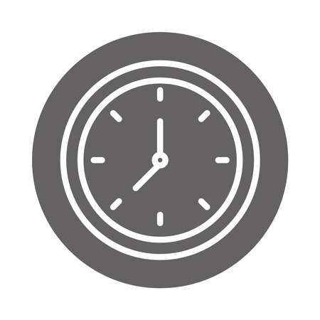 round clock time hour, block and line icon vector illustration