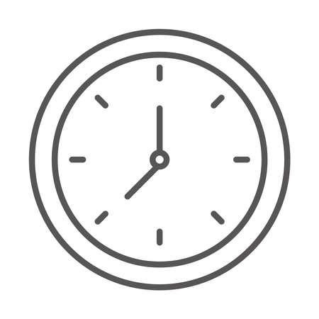 round clock time hour, line icon design vector illustration Çizim