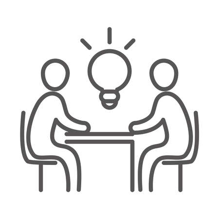 team people work creativity, coworking office business workspace, line icon design vector illustration Çizim