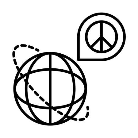 world navigation pointer peace sign, human rights day, line icon design vector illustration
