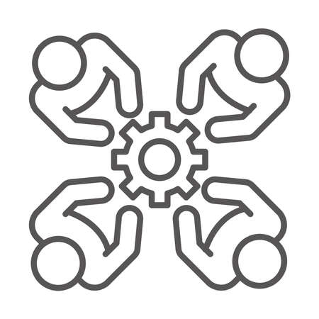 people team together cooperation, coworking office business workspace, line icon design vector illustration
