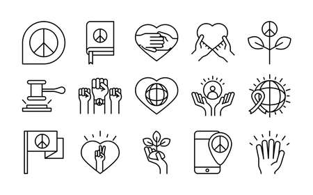 human rights day, line icons set design, included peace heart world flag vector illustration