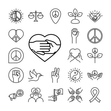 human rights day, line icons set design, included world law peace love ribbon vector illustration
