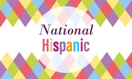 national hispanic heritage month, celebrate annual in united states inscription background vector illustration Illustration