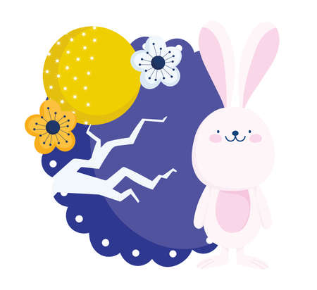 happy mid autumn festival, cute bunny full moon flower tree, chinese clebration blessings and happiness vector illustration