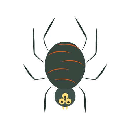 creepy black spider cartoon flat icon style vector illustration