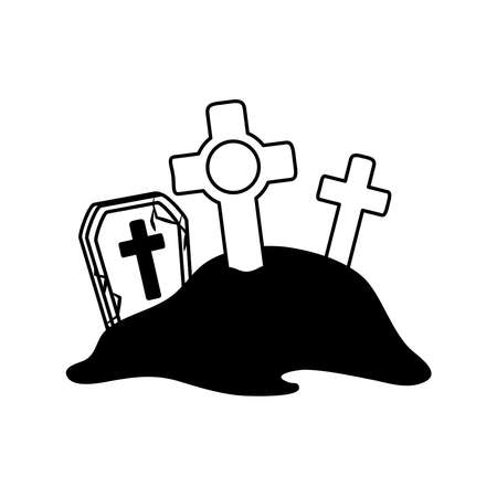 happy halloween, cemetery gravestones crosses ground trick or treat celebration line icon style vector illustration