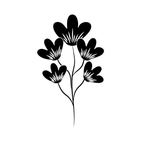 minimalist tattoo flower decoration silhouette art herb and leaves vector illustration