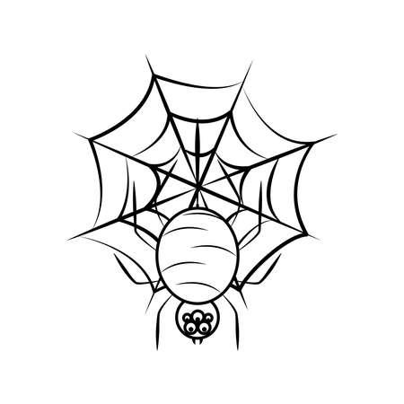happy halloween, spider in cobweb trick or treat celebration line icon style vector illustration