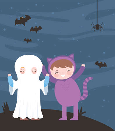 happy halloween, mummy and cat costume character night bats, trick or treat, party celebration vector illustration
