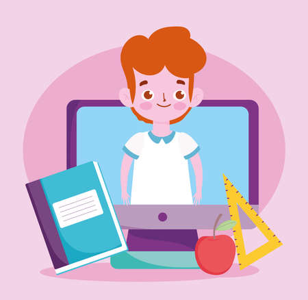happy teachers day, student boy in screen computer apple book and ruler vector illustration