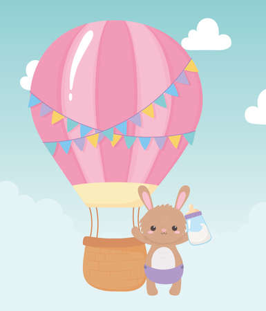 baby shower, cute bunny with bottle milk and air balloon, celebration welcome newborn vector illustration