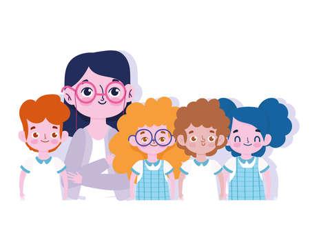 happy teachers day, female teacher and little childrens student cartoon vector illustration