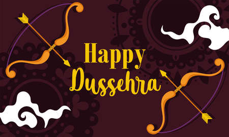 happy dussehra festival of india, phrase bow arrow traditional religious ritual banner vector illustration