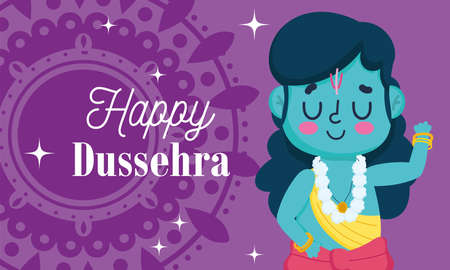 happy dussehra festival of india, lord rama mandala card, traditional religious ritual vector illustration