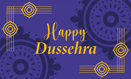 happy dussehra festival of india, stylish typography gold shapes, traditional religious vector illustration