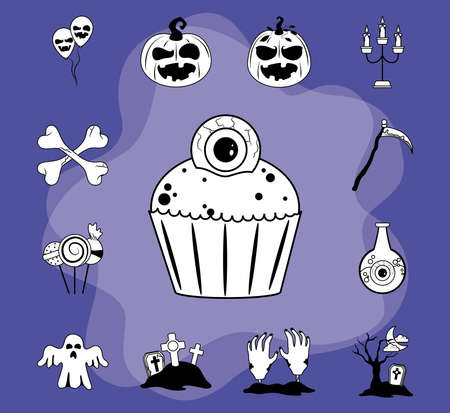 happy halloween, scary trick or treat celebration party flat icons style purple vector illustration 스톡 콘텐츠 - 154419776