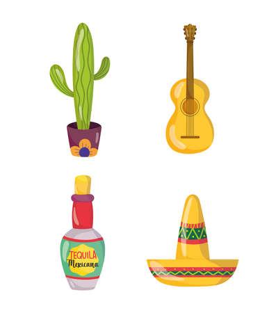 mexican independence day, cactus hat bottle tequila and hat, viva mexico is celebrated on september vector illustration