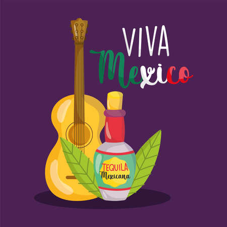 mexican independence day, guitar bottle tequila, viva mexico is celebrated on september vector illustration Иллюстрация