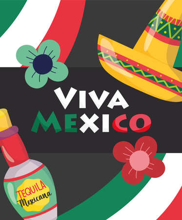 mexican independence day, bottle tequila flowers and hat, viva mexico is celebrated on september vector illustration