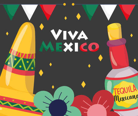 mexican independence day, hat tequila bottle flowers decoration, viva mexico is celebrated on september vector illustration