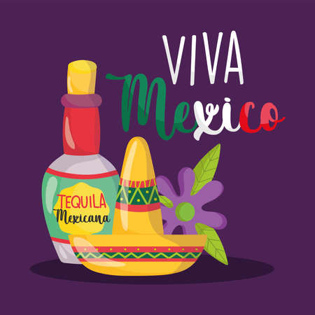 mexican independence day, tequila bottle drink hat and flower, viva mexico is celebrated on september vector illustration