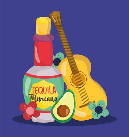 mexican independence day, guitar bottle tequila avocado flowers, viva mexico is celebrated on september vector illustration