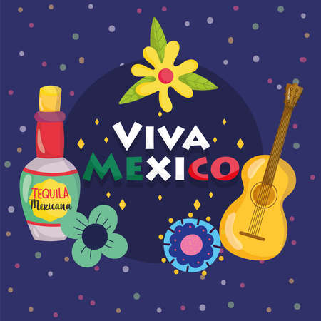 mexican independence day, guitar tequila bottle flowers dark background, viva mexico is celebrated on september vector illustration