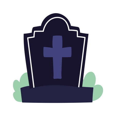 happy halloween, black gravestone with cross and grass, trick or treat celebration vector illustration