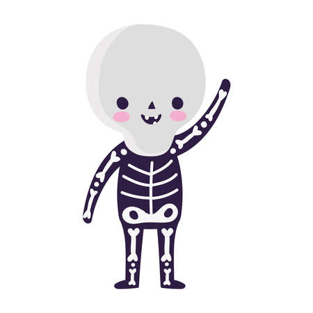 happy halloween, kid with skeleton costume cartoon, trick or treat celebration vector illustration