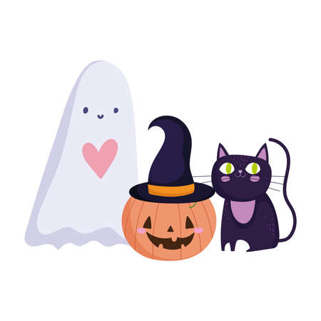 happy halloween, ghost pumpkin and black cat trick or treat party celebration vector illustration
