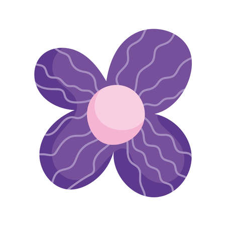 flower petals ornament decoration isolated icon white background vector and illustration