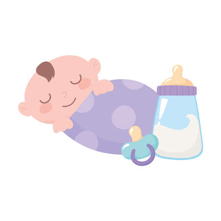 baby shower, little boy in blanket with bottle milk and pacifier, celebration welcome newborn vector illustration Иллюстрация