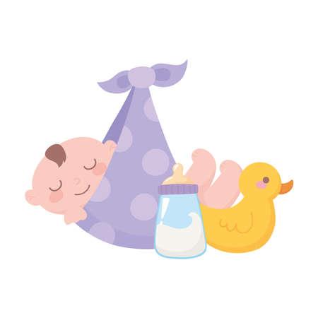 baby shower, baby boy in blanket with duck and bottle milk, celebration welcome newborn vector illustration