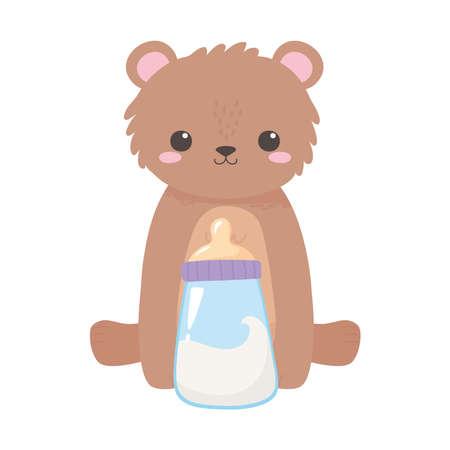 baby shower, cute little bear with milk bottle, celebration welcome newborn vector illustration Иллюстрация