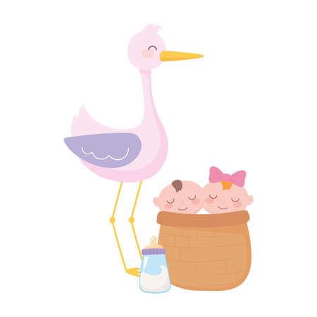 baby shower, stork with babies in basket and bottle milk, celebration welcome newborn vector illustration