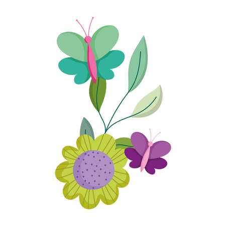 butterflies flower leaf branch decoration isolated icon white background vector and illustration