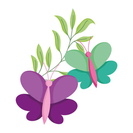 butterflies leaves branch decoration isolated icon white background vector and illustration Ilustração