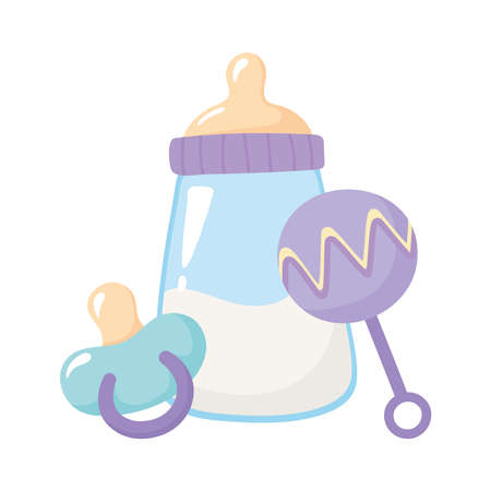 baby shower, rattle with pacifier and bottle milk, celebration welcome newborn vector illustration Иллюстрация