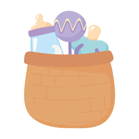 baby shower, basket with rattle pacifier and milk bottle, celebration welcome newborn vector illustration
