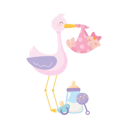 baby shower, stork with baby girl milk bottle rattle and pacifier, celebration welcome newborn vector illustration