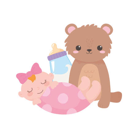baby shower, teddy bear little girl and bottle milk, celebration welcome newborn vector illustration Иллюстрация