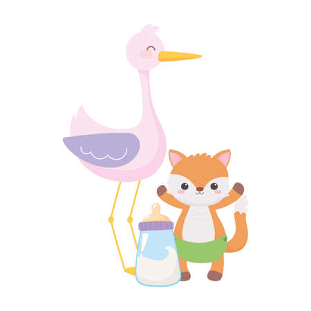 baby shower, stork with little fox and bottle cartoon, celebration welcome newborn vector illustration Иллюстрация