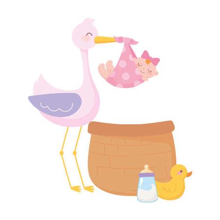 baby shower, cute stork with little girl basket duck and bottle milk, celebration welcome newborn vector illustration