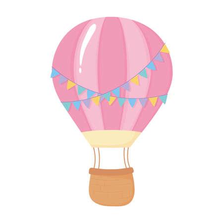 air balloon with decorative bunting celebration isolated icon vector illustration Illusztráció
