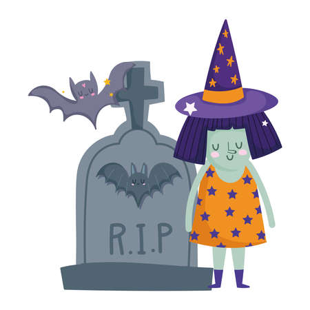 happy halloween, witch costume tombstone bats trick or treat party celebration vector illustration